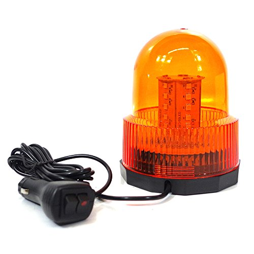 Xprite Super Bright Amber/Yellow Rotating Revolving LED Beacon Strobe Light,with Magnetic Mount, 60LEDs 15W Emergency Warning Caution Flashing Light for Snow Plow Truck UTV 12v - Led Bright Beacon