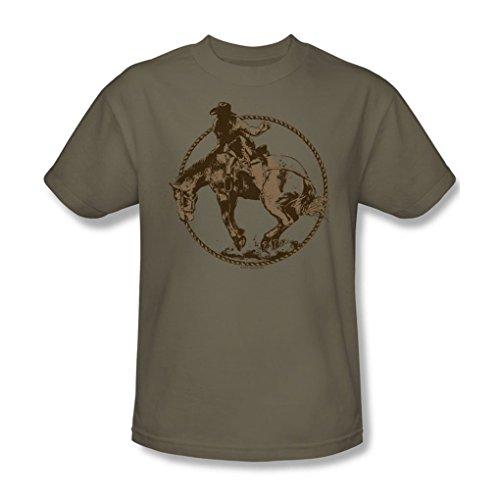 Funny Tees Bucking Bronco - Adult Safari Green S/S T-Shirt for Men, XX-Large, Safari Green