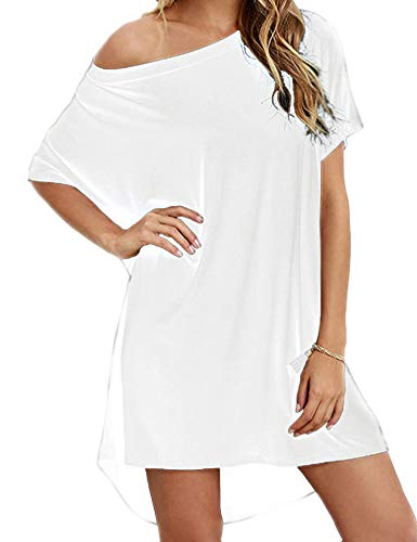 Hioinieiy Women's Short Sleeve T Shirt Dress Soft Nightgown Loose Top Plus Size Cover Up for Casual Summer White 2X (White Off The Shoulder Plus Size Shirt)