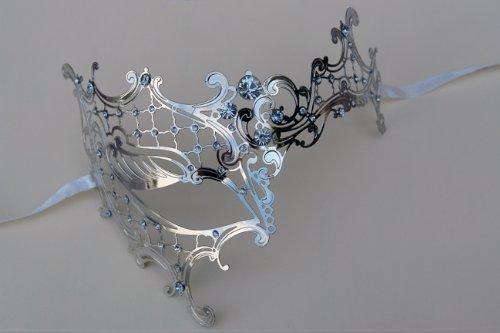 Plus Half Mask (Elegant Laser Cut Silver Finish with Crystal Decor Venetain Half Face)