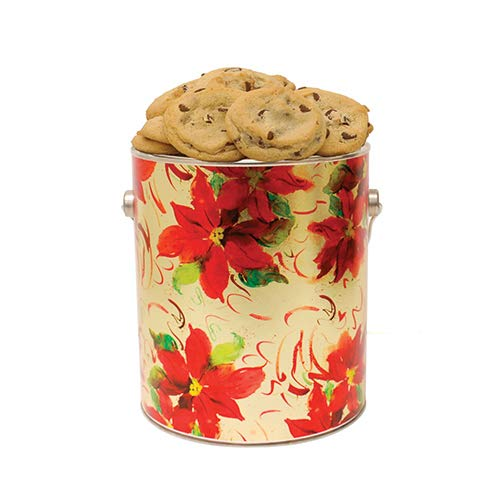 Christmas Poinsettia Cookie Gallon Tin- Assorted Baked Fresh by Apple Cookie & Chocolate Co