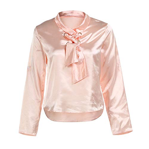 - Nevera Women Casual Office Tops T-Shirts Tee Bandage Bow Long Sleeve Blouse