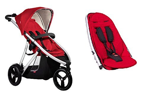 Teds Double Vibe - Phil and Teds Vibe V3 Stroller With Doubles Kit (Cherry)