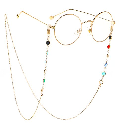 ZTie Eyeglass Chains Holder for Women Gift Reading Glasses Cords Strap Beaded Sunglass Chain Anti Slip Lanyards Eyewear Retainer (Gold) ()