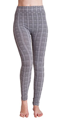 Ladies Plaid Hounds tooth High Rise Fleece Leggings, Multiple Colors Available supplier