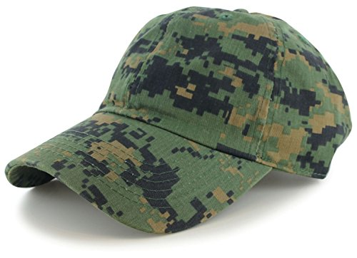 WALLER PAA Cotton Cap Baseball Caps Hat Adjustable Polo Style Washed Plain Solid Visor Digital Camo
