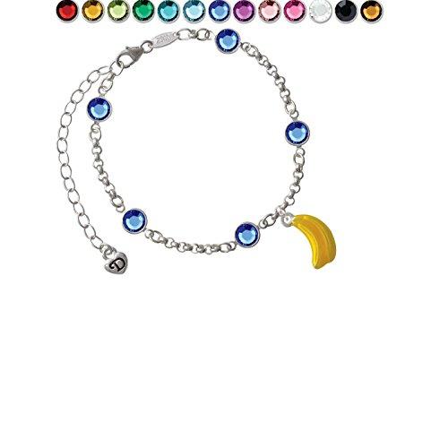 3-D Yellow Enamel Bananas Custom Crystal Color Fiona Charm Bracelet