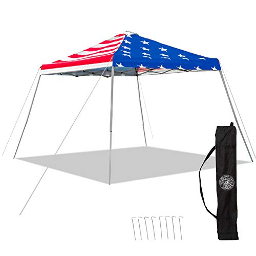 (Punchau American Flag Pop Up Canopy Tent - UV Coated, Waterproof Instant Outdoor Gazebo Tent )