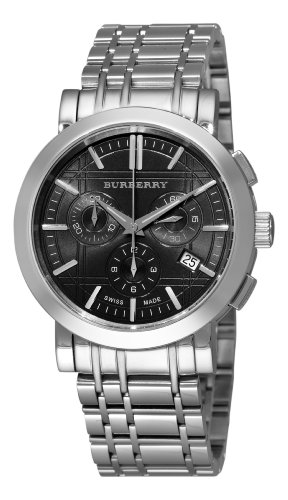 Burberry Men's BU1360 Heritage Silver Tone Stainless Steel Bracelet Dark Grey Dial Chronograph Watch (Heritage Silver Dial)