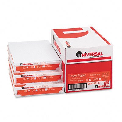 Universal : Bulk Copy/Laser/Inkjet Paper, 92 Brightness, 20lb, 11 x 17, 2,500 Sheets/Carton -:- Sold as 2 Packs of - 5 - / - Total of 10 Each