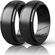 Qinaoco Silicone Wedding Band Men - 2/4/7 Rings Breathable Men's Silicone Rubber Wedding Ring Engagement B