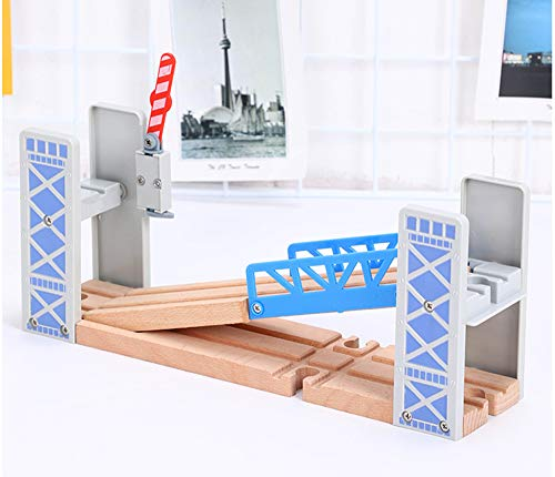 May & Z Wooden Train Set Accessories Wood Railway Bridge for Railroad Tracks, 2-Level Overpass Compatible for All Railway Tracks System
