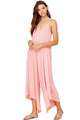 Annabelle Womens Asymmetrical V Neck Loose Fit Side Pocket Comfy Overall Jumpsuit Rompers