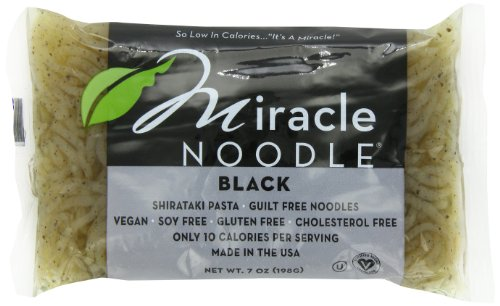 Miracle Noodle Black Shirataki Noodles, 7 oz (Pack of 6), Angel Hair Pasta, Low Carbs, Low Calorie, Gluten Free, Soy Free, Keto Friendly (Best Low Sodium Pasta Sauce)
