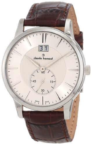 Claude Bernard Men's 64005 3 AIN Classic Gents Silver Dial Brown Leather Date Watch