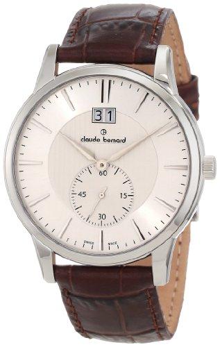 Claude Bernard Men's 64005 3 AIN Classic Gents Silver Dial Brown Leather Date Watch