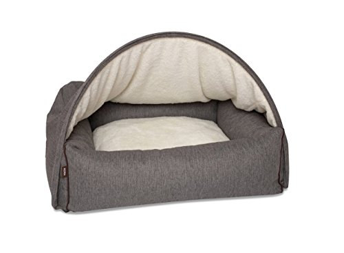KONA CAVE - Snuggle Cave Luxury Dog Bed with Detachable Cozy Cave Cover - Patent Protected Design - Grey Herringbone - Size Medium
