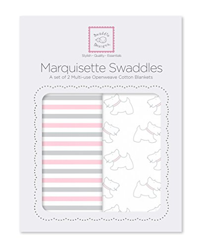 SwaddleDesigns Marquisette Swaddles, Set of 2, Premium Cotton Muslin, Simple Stripes and Pastel Pink Little Doggie Pastel Stripe Baby Blanket