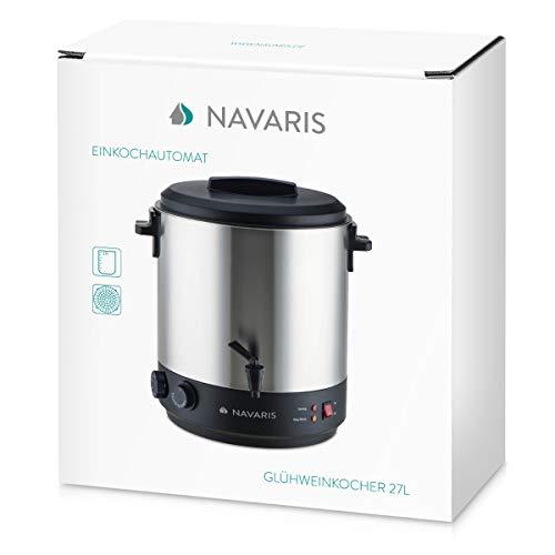 Navaris olla para conservas 27L grifo termostato y temporizador - Dispensador de bebidas calientes - Cacerola eléctrica para vino y café en plateado: ...