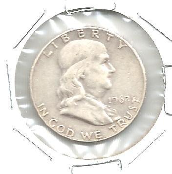 1962 D SILVER 1/2 OZ FRANKLIN HALF DOLLAR COIN EF - EXTREMELY FINE
