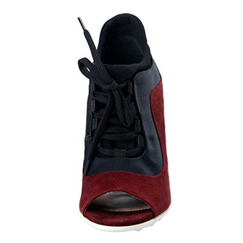 Miu Miu Femmes Bourgogne Daim Cuir Haut Talon Cheville Chaussures Bourgogne