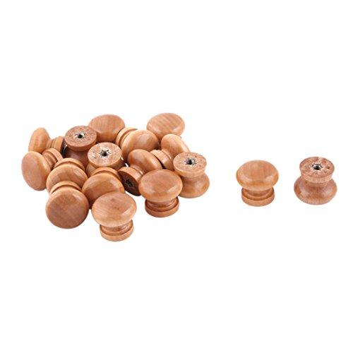 uxcell Family Kitchen Round Cabinet Drawer Door Handle Grip Pull Knobs 17pcs Wood Color by uxcell