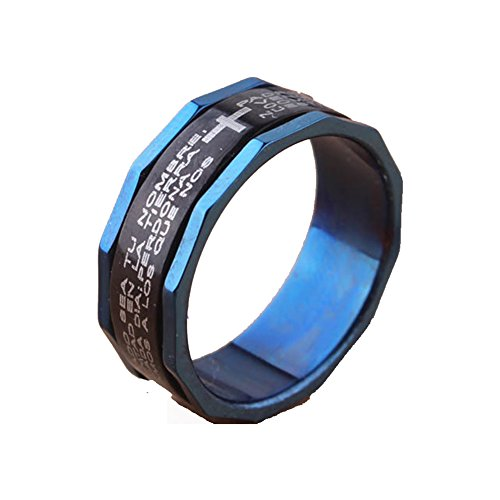 ium Ring Black Blue Lord's Prayer Engraved with Cross Praying Spins Rings (Prayer Spin Ring)