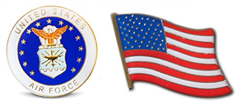 (Patriotic U.S. Air Force & American Flag Lapel Hat Pin & Tie Tack Set with Clutch Back by Novel Merk,White,Medium)