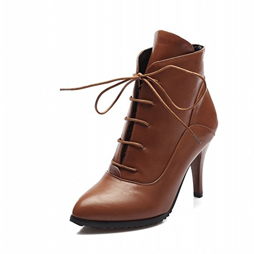 Brown Heel Dress Charm Carolbar Women's Stiletto High Fashion Boots 6xOTq8