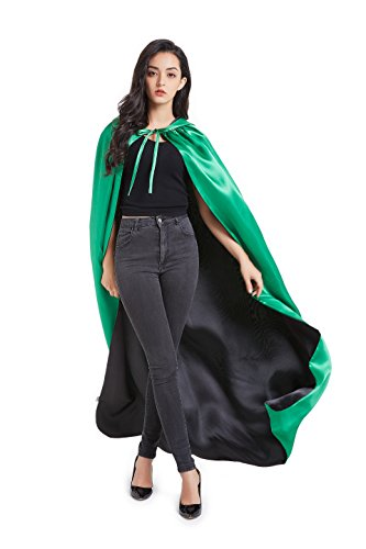 Crizcape Stain Reversible Halloween Christmas Hooded Cape Cloak for Goth Devil Pirate Vampire Demon Masquerade Party Costume -