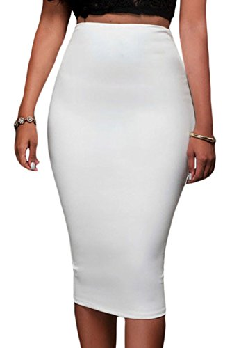 Neue Damen weiß Reißverschluss Rückseite Rock Club Wear Büro Wear Party Größe M UK 10–12EU 38–40