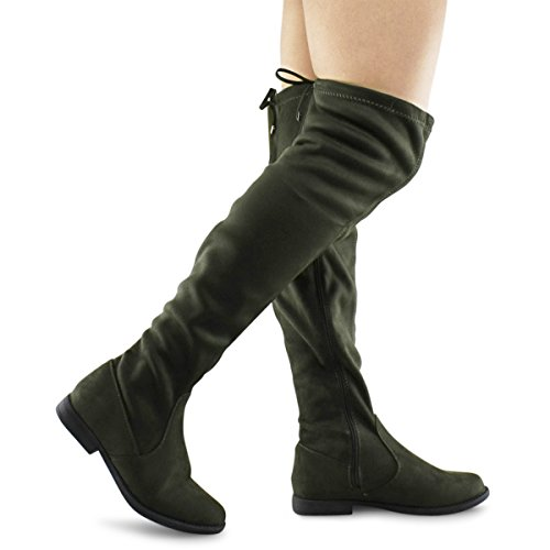 Premier Standard Women's Lace Thigh High Over The Knee Riding Boots - Side Zipper Comfy Vegan Suede Olive I1*