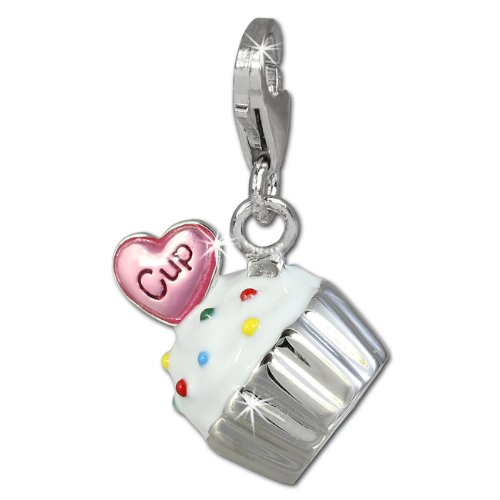 SilberDream Charm cupcake white and pink enameled 925 Sterling Silver Pendant FC815W