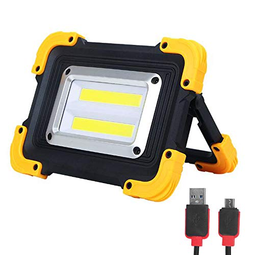 FISHNU Nylon Case Rechargeable Led Work Light,1800 Lumens Led Flood Light,Built-in Lithium Batteries with USB Port to Charge Mobile Devices(Square Cob)]()