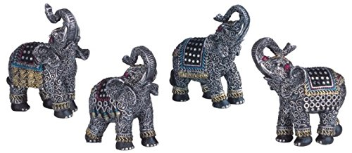 StealStreet SS-G-88049 Black Thai Elephant with Trunk Raised Set of 4 Figurines Statues Decor