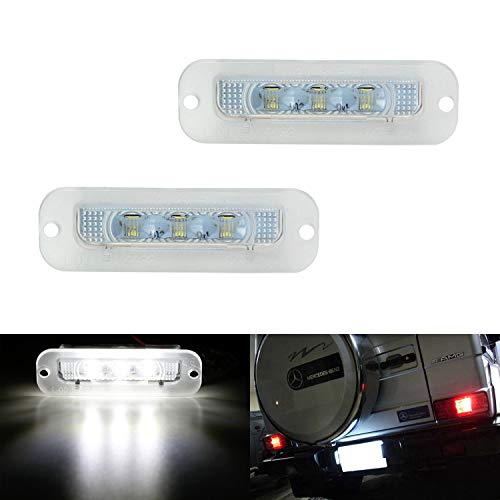 iJDMTOY OEM-Fit 3W Full LED License Plate Light Kit For 1990-2012 Mercedes-Benz W463 G500 G550 G55 AMG, Powered by 18-SMD Xenon White LED & Can-bus Error Free