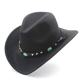 SHENTIANWEI Fashion Men Women Western Cowboy Hat with Punk Belt Pop Wide Brim Jazz Hat Sombrero Hat Winter Outdoor Church Hat Size 56-58CM (Color : Black, Size : 56-58)