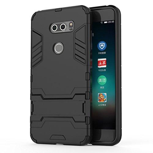LG K10(2017) Funda - Doble Capas Cáscara Silicona Híbrida Protectora Heavy Duty Blindaje Dura Cubierta Posterior con Soporte para LG K10(2017) - Negro Negro