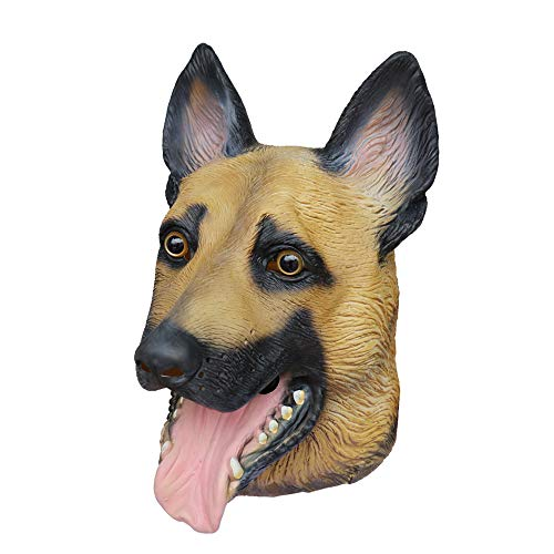 Aqkilo German Shepherd Dog mask Latex Animal Head mask Halloween Costume Party]()