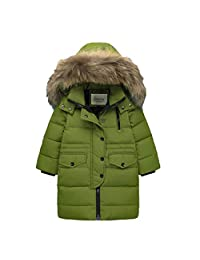 honuansortory Kid's Hooded Down Jacket Zip-up Thick Down Coat Zipper Button Winter Overcoat for Boys and Girls
