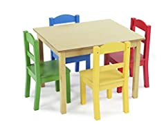 The Tot Tutors Kids Wood Table and 4 Chairs Set is the perfect size for children to eat, read books, color, do arts and crafts, play board games, and just have fun. The table and chair set is ideal for your toddler's bedroom, playroom, or the...