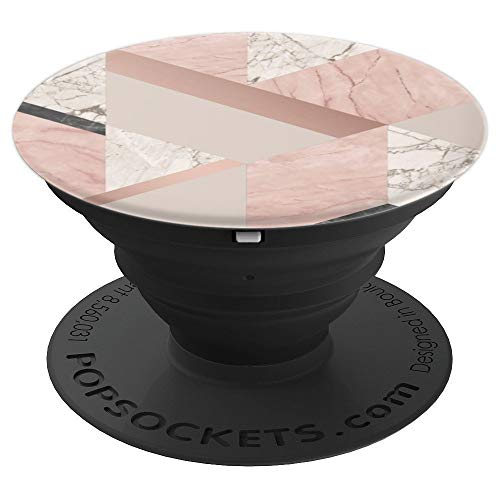 Geometric Rose - Rose Gold and White Geometric Marble - PopSockets Grip and Stand for Phones and Tablets