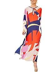 RanRui Women's White Ethnic Print Kaftan Maxi Dress Summer Beach Dress …