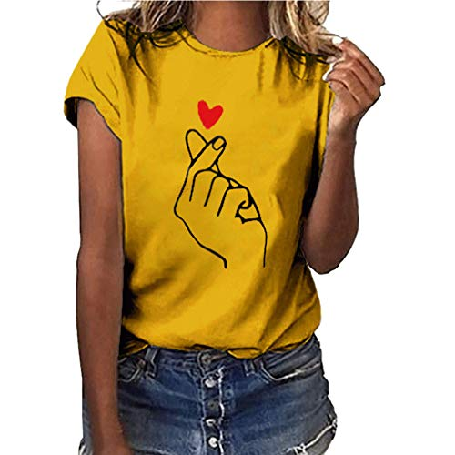 iPOGP Women Cotton T-Shirt Summer Than Heart Print Short Sleeve Round Neck Simple Blouse Tops Fashion 2019(Yellow,S)
