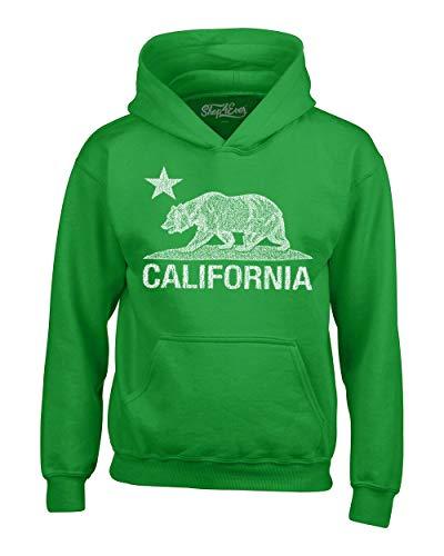 Shop4Ever California Distressed White Bear Hoodies Cali Sweatshirts Small Irish Green 0