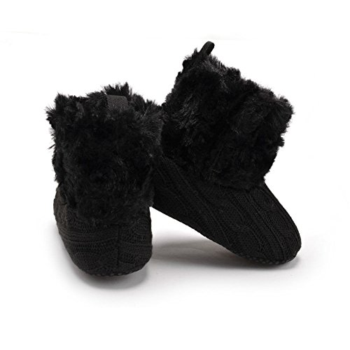 Zhuhaixmy Winter Baby Schuhe Junge Mädchen Anti-Rutsch Stricken Samt Erstes Gehen Schuh 0-24 Monate 7 Farbe Schwarz