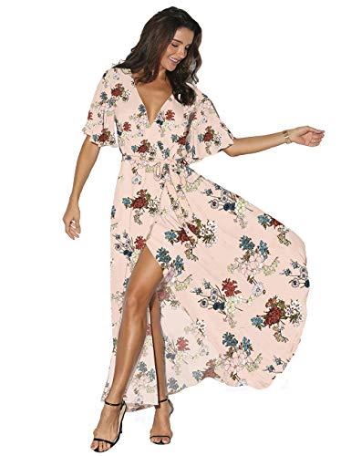 Azalosie Women Wrap Maxi Dress Floral Short Sleeve Flowy Slit Tie Waist Summer Beach Party Wedding Dress Pink