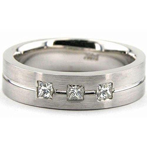 6 Mm Platinum Diamond (950 Platinum 6mm Diamond Wedding Bands Rings 1960 - Size 12.75)