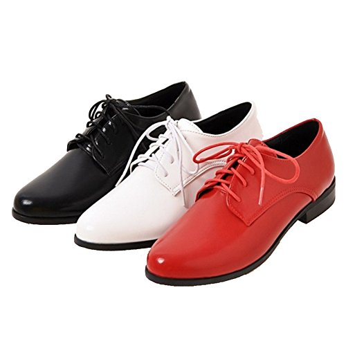 SJJH Pointed Toe and Large Size 0-11 UK with 3-Colors Lace up Women with 3-Colors All Macth Shoes White yLi3cThP5H