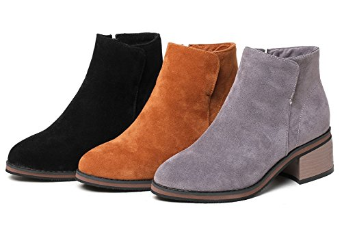 Kaloosh Women's Comfortable Nubuck Leather Pointed Toe Block Heel Casual Ankle Boots Gray wQNYZG59ie